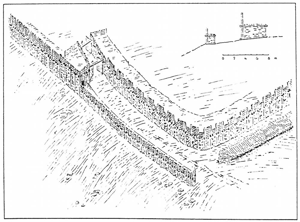 Hunsrück: Zeichnung der Toranlage des Ringskopf bei Allenbach nach W. Dehn, H. Eiden, W. Kimmig 1937