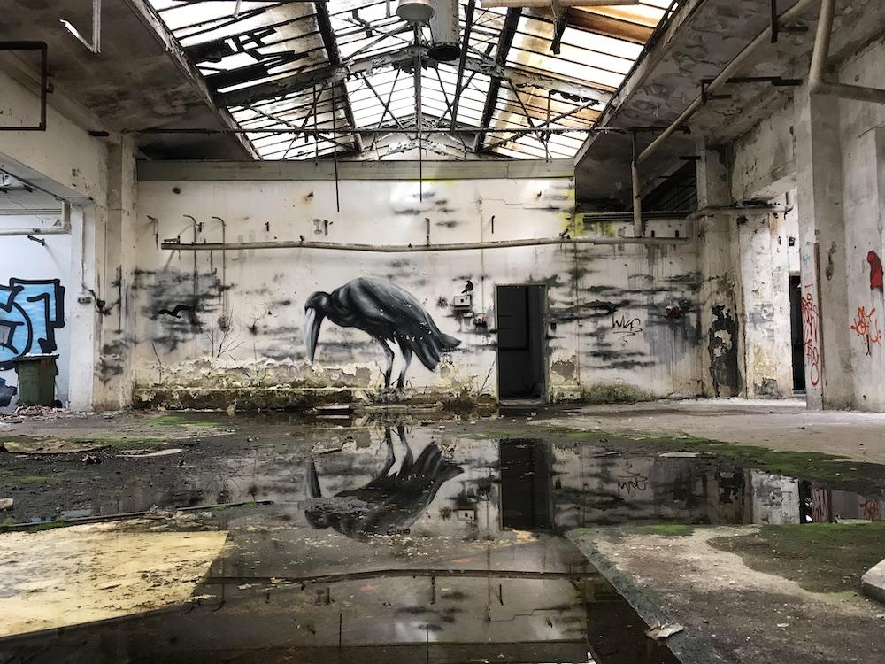 Vogelperspektive: Eine verlassene Fabrikhalle mit einem Graffiti von Plotbot KEN